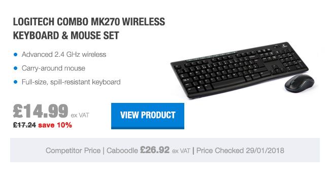 Logitech Combo MK270 Wireless Keyboard and Mouse Set