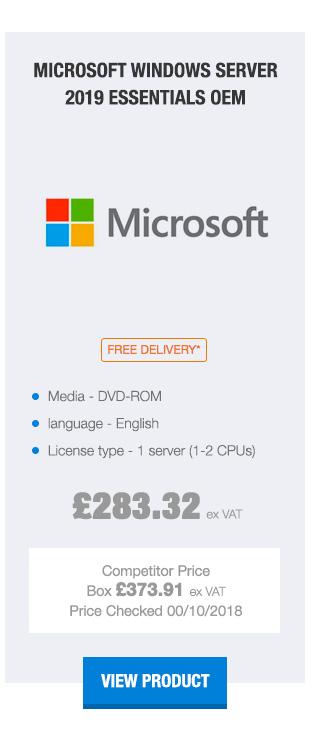 Microsoft Windows Server 2019 Essentials 1-2 CPU 64Bit DVD