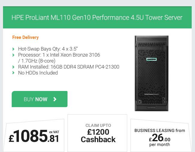 HPE ProLiant ML110 Gen10 Performance Xeon Bronze Tower Server
