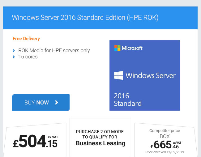 Windows Server 2016 Standard Edition (HPE ROK)