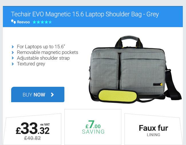 Techair EVO Magnetic 15.6 Laptop Shoulder Bag - Grey