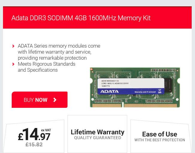Adata DDR3 SODIMM 4GB 1600MHz Memory Kit
