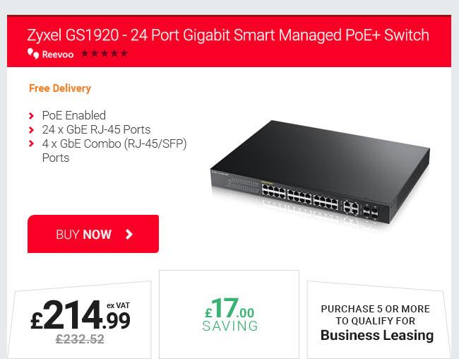 Zyxel GS1920 – 24 Port Gigabit Smart Managed PoE+ Switch