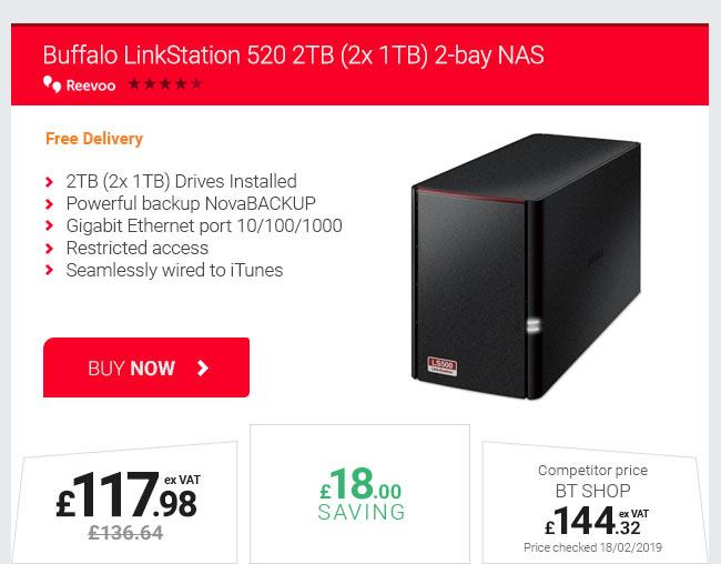 Buffalo LinkStation 520 2TB (2x 1TB) 2-bay NAS