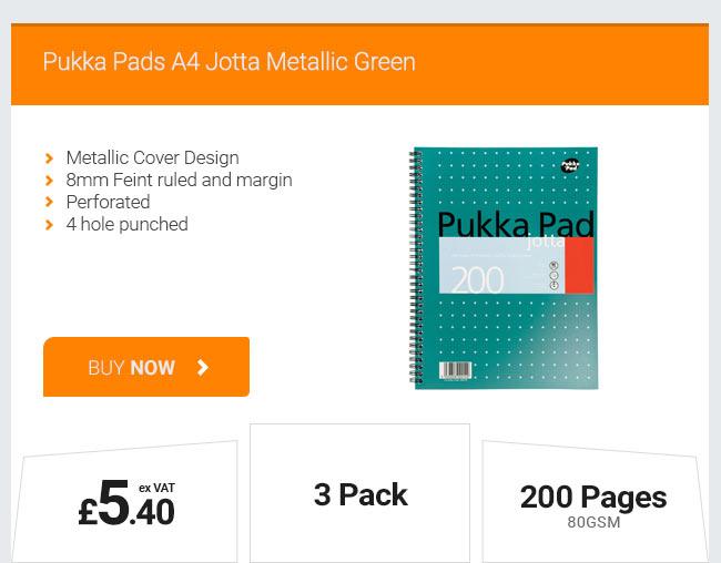 Pukka Pad A4 Jotta Metallic Green - 3 Pack