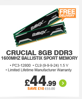 Crucial 8GB DDR3 1600Mhz Memory - £44.99