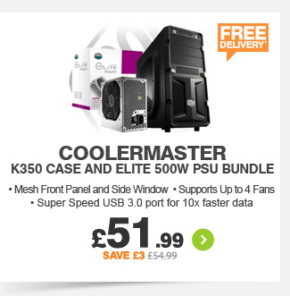 Coolermaster K350 Case + Elite 500W PSU - £51.99