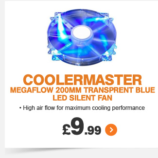 Coolermaster 200mm Transprent Blue LED Fan  - £9.99