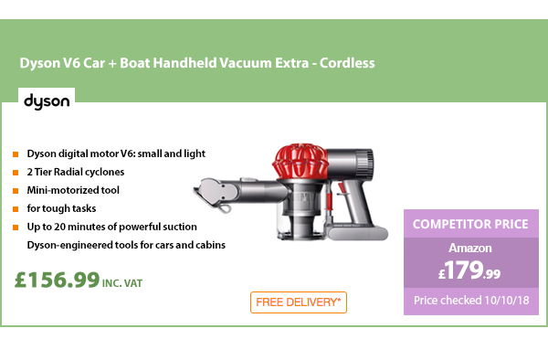 Dyson V6 Car + Boat Handheld Vacuum Extra - Cordless