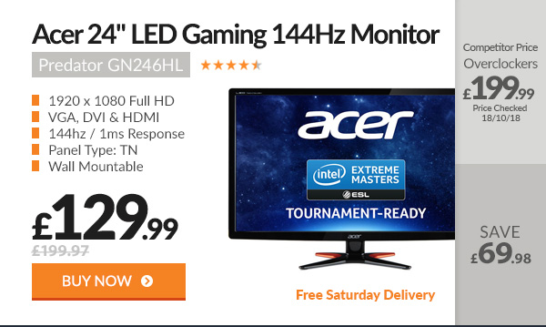 Acer Predator GN246HL 24in Gaming 144Hz Monitor