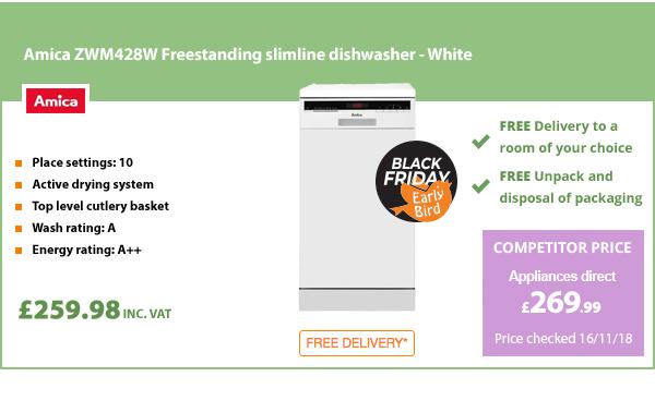 Amica ZWM428W Freestanding slimline dishwasher - White