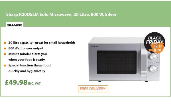 Sharp R20DSLM Solo Microwave, 20 Litre, 800 W, Silver