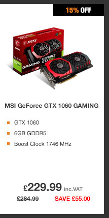 MSI GeForce GTX 1060 GAMING 6GB GDDR5 Graphics Card