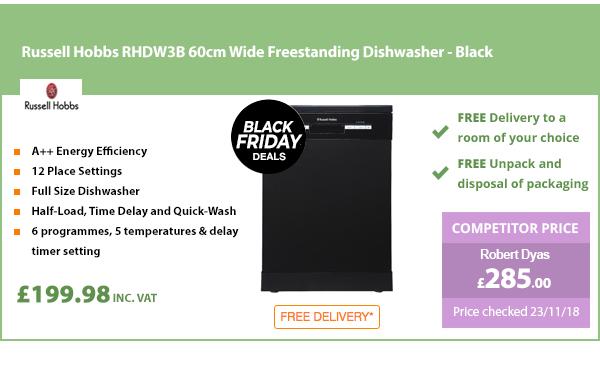 Russell Hobbs RHDW3B 60cm Wide Freestanding Dishwasher - Black