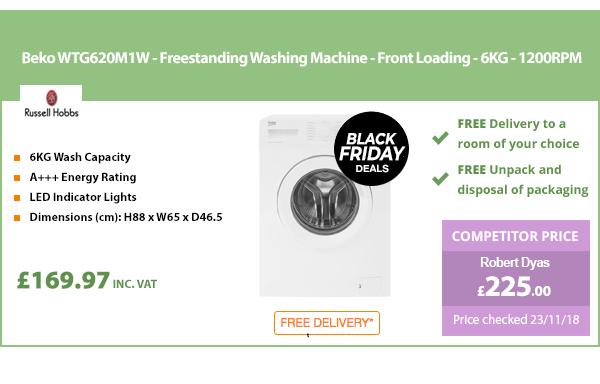 Beko WTG620M1W - Freestanding Washing Machine