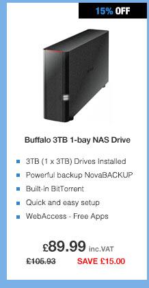 Buffalo LinkStation 210 3TB (1 x 3TB) 1-bay NAS Drive