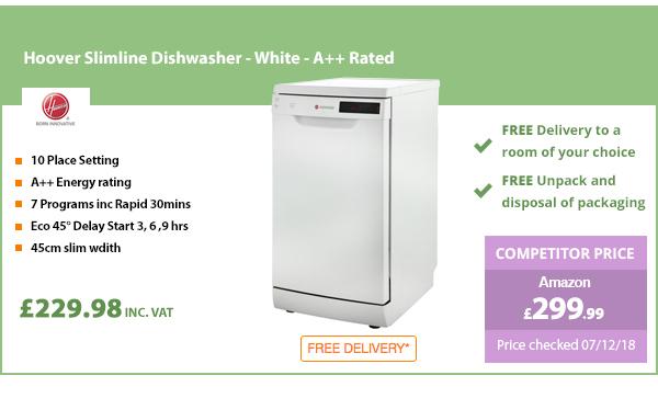 Hoover Slimline Dishwasher - White - A++ Rated