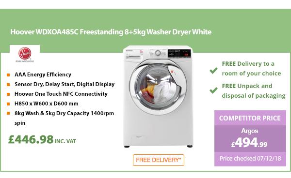 Hoover WDXOA485C Freestanding 8+5kg Washer Dryer White