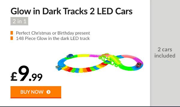 2 in 1 Glow in Dark Tracks 2 LED Cars