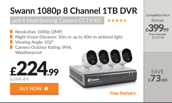Swann 1080p 8 Channel 1TB DVR and 4 Heat-Sensing Camera CCTV Kit