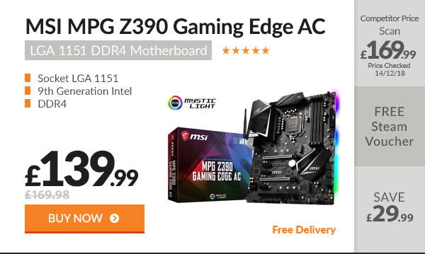 MSI MPG Z390 GAMING EDGE AC LGA 1151 DDR4 Motherboard
