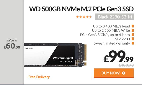WD 500GB Black NVMe M.2 2280-S3-M PCIe Gen3 SSD