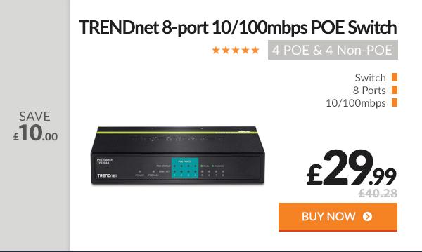 TRENDnet 8-port POE Switch - 4 POE & 4 Non-POE