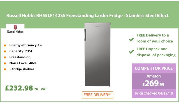 Russell Hobbs RH55LF142SS Freestanding Larder Fridge - Stainless Steel Effect