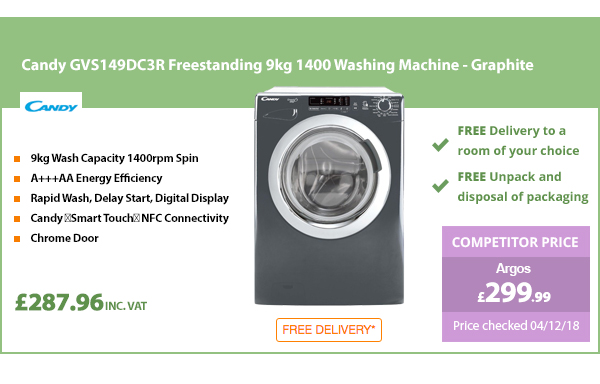 Candy GVS149DC3R Freestanding 9kg 1400 Washing Machine - Graphite
