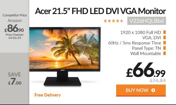 Acer V226HQLBbd 21.5in Full HD DVI VGA LED Computer Monitor