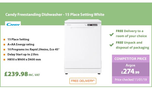 Candy Freestanding Dishwasher - 15 Place Setting White