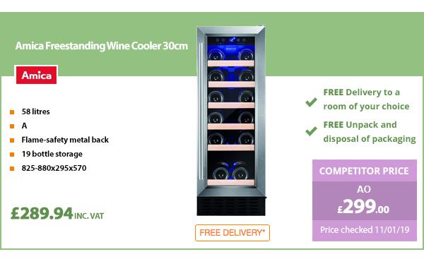 Amica Freestanding Wine Cooler 30cm