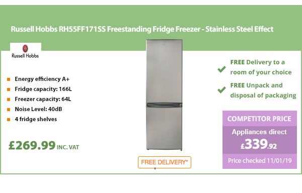 Russell Hobbs RH55FF171SS Freestanding Fridge Freezer