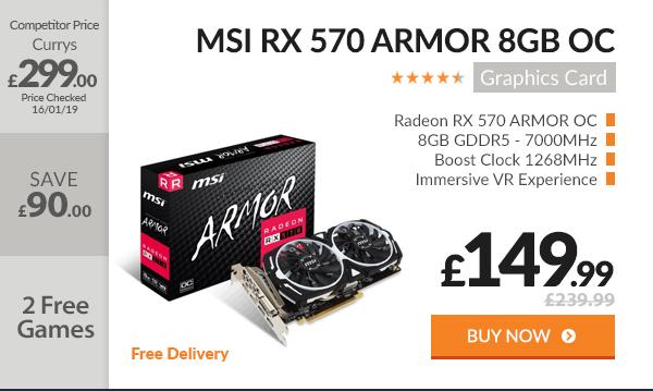 MSI RX 570 ARMOR 8GB OC GDDR5 Graphics Card