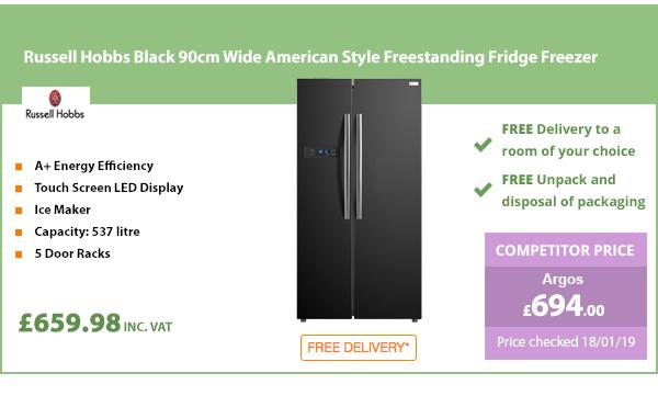 Russell Hobbs Black 90cm Wide American Style Freestanding Fridge Freezer