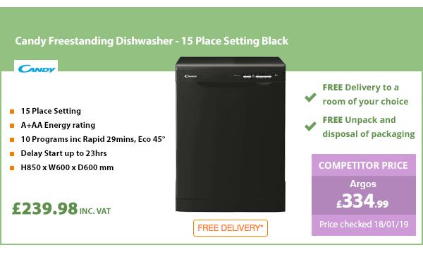 Candy Freestanding Dishwasher - 15 Place Setting Black