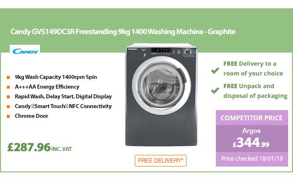 Candy GVS149DC3R Freestanding 9kg 1400 Washing Machine