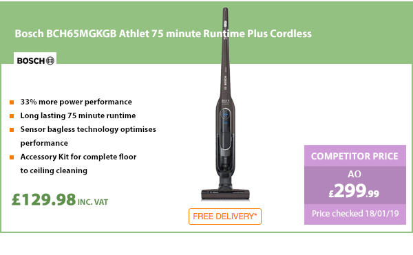 Bosch BCH65MGKGB Athlet 75 minute Runtime Plus Cordless