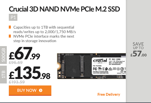 Crucial P1 3D NAND NVMe PCIe M.2 SSD