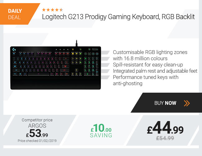 Logitech G213 Prodigy Gaming Keyboard, RGB Backlit