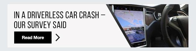 In a driverless car crash – our survey said