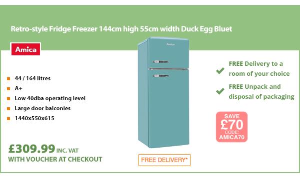 Retro-style Fridge Freezer 144cm high 55cm width Duck Egg Blue