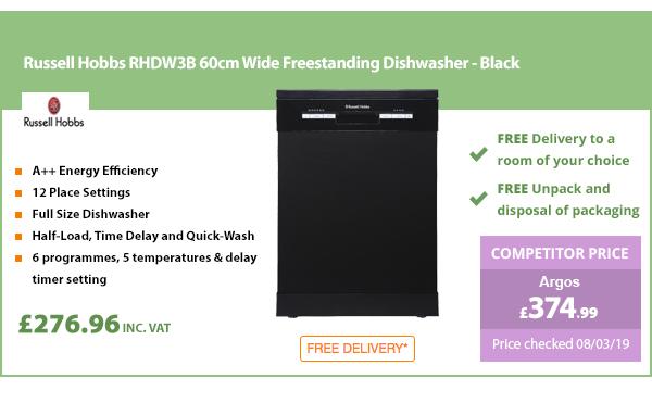 Russell Hobbs RHDW3B 60cm Wide Freestanding Dishwasher