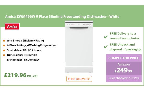 Amica ZWM496W 9 Place Slimline Freestanding Dishwasher - White