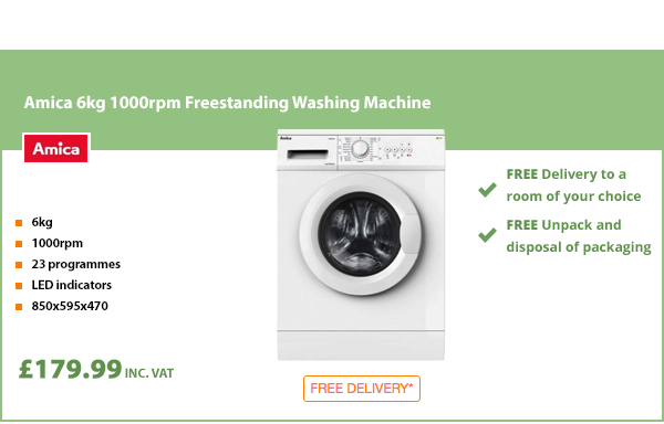 Amica 6kg 1000rpm Freestanding Washing Machine
