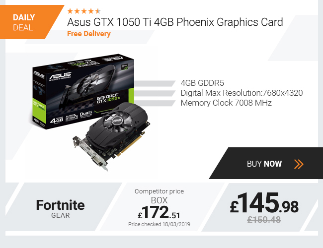 Asus GTX 1050 Ti 4GB Phoenix Graphics Card