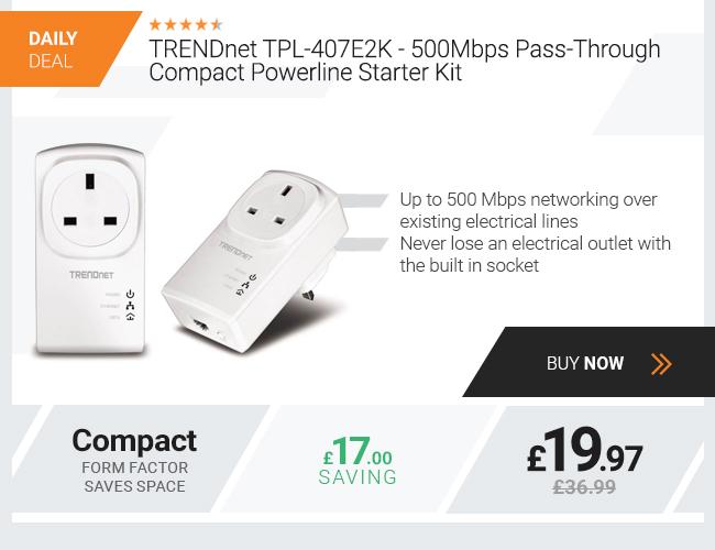 TRENDnet TPL-407E2K - 500Mbps Pass-Through Compact Powerline Starter Kit