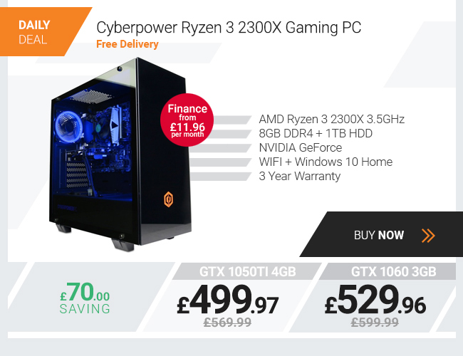 Cyberpower Ryzen 3 2300X GTX 1050 Ti Gaming PC