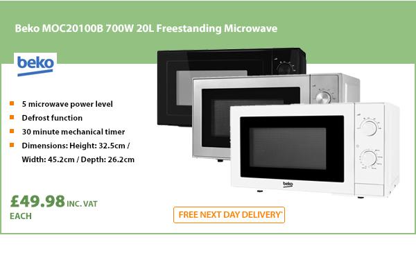 Beko MOC20100S Solo Microwave, 20 Litre, 700 W