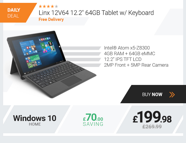 Linx 12V64 12.2in 64GB Tablet w/ Keyboard - Silver